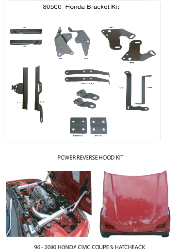 80500 POWER REVERSE HOOD BRACKET KIT FOR 96-00 HONDA CIVIC