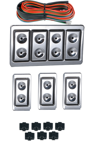 99022 NEW STYLE BILLET 4 DOOR ILLUMINATED SWITCH KIT WITH 7 SWITCHES.