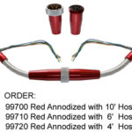99700 STAINLESS UNDERHOOD HARNESS KIT IN RED ANODIZED FINISH WITH 10 FEET OF BRADIED STAINLESS HOSE