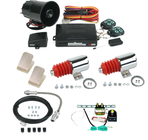 99830 2 DOOR SHAVED HANDLE KIT WITH 99030 45LB. CHROME SOLENOIDS AND 95700 COMBINATION ALARM REMOTE STARTER WITH 94300 EMERGENCY ENTRY AND TK01-00-001 POWER TRUNK KIT